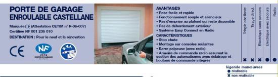 Porte de garage enroulable castelane