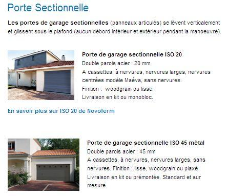 Portes de garage sectionnelle