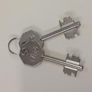 Clef de serrure a double panneton viro 2201 pour rideaux metallique