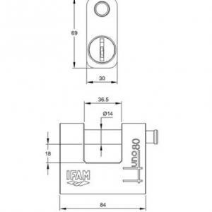 Dimension et schema du cadenas blinde haute securite ifam huno 01