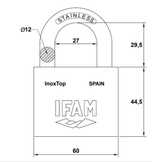 Dimensions cadenas inox inoxtop 60 ifam