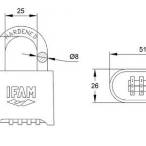 Dimensions et schema cadenas a combinaison ifam pr50