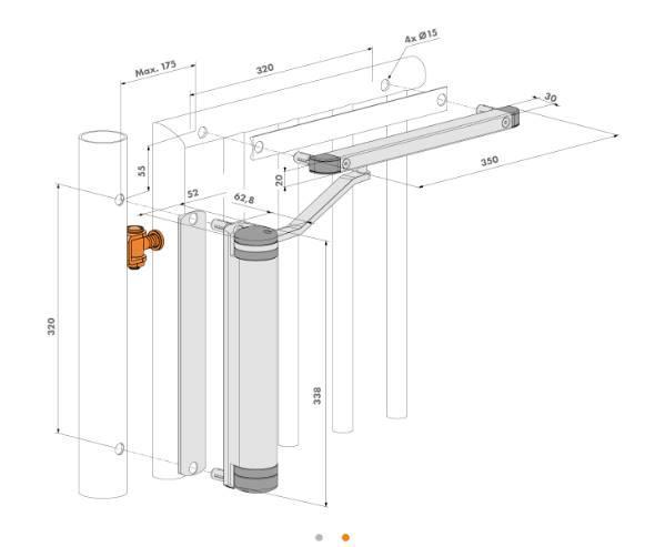Dimensions et schema de pose du ferme portail portillon grille acier locinox lion