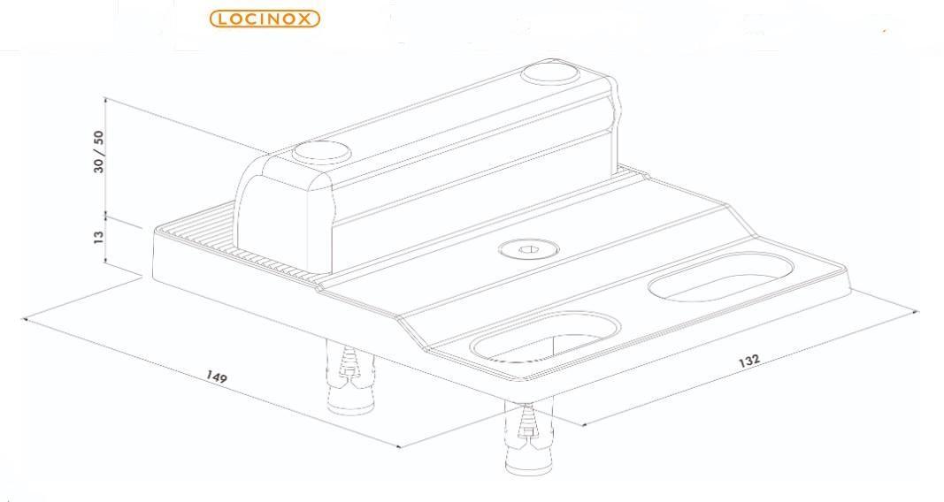 Dimensions et schema du sabot butee de sol reglable locinox pour portail battant alu acier bois