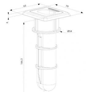 Dimensions et schema du sabot de sol economique egs locinox pour portail battant alu acier bois