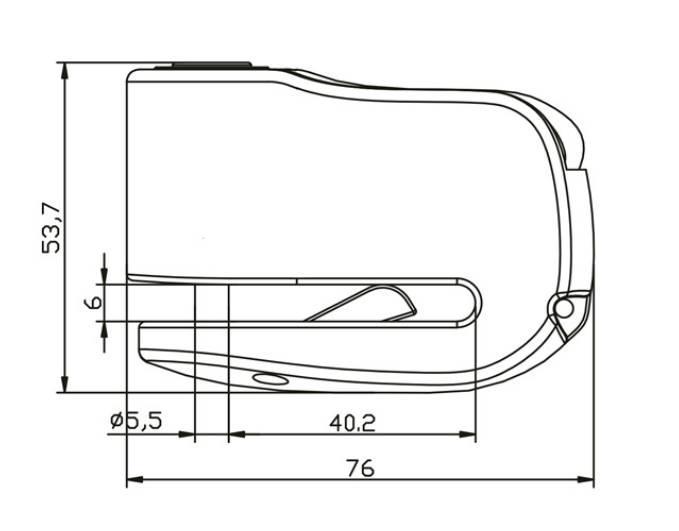 Dimensions et schema bloc disque storm mini alarme sonore 110 db ifam pour moto et scooter 2 roues quad