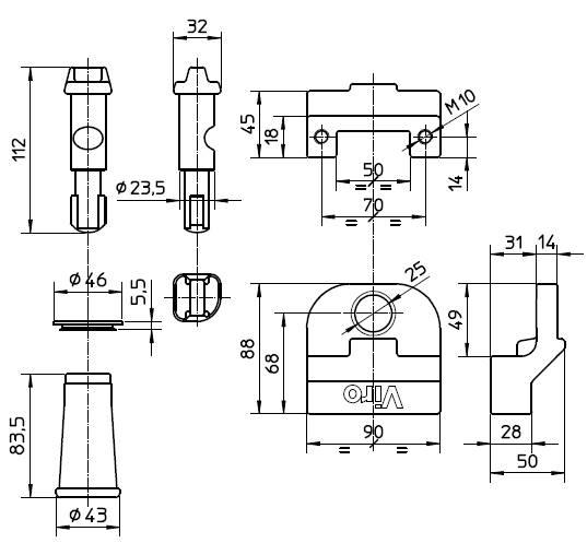 Dimensions serrure antivol viro 696 pour portes de garage basculantes debordantes
