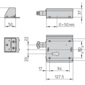 Dimensions serrure electrique 7905 v06 harpon rotatif pour portail coulissant et porte de garage