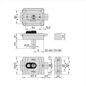 Dimensions serrure electrique viro v9083 a bouton ref 9083 0794 p