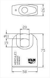 Dimensions Cadenas Haute Securite IFAM Hercule A