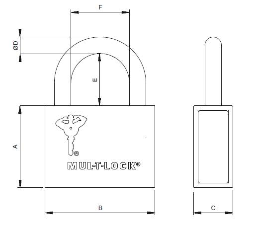 Dimensions Cadenas Haute Sécurité MUL-T-LOCK  CAD-C13 REG