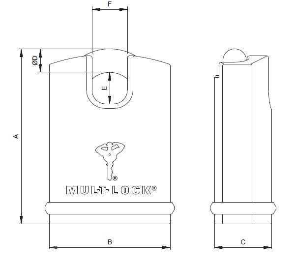 Dimensions cadenas mul-t-lock CAD-E 14 H