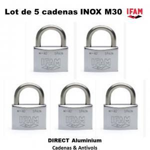 Lot de 5 cadenas inox marine m 30 ifam