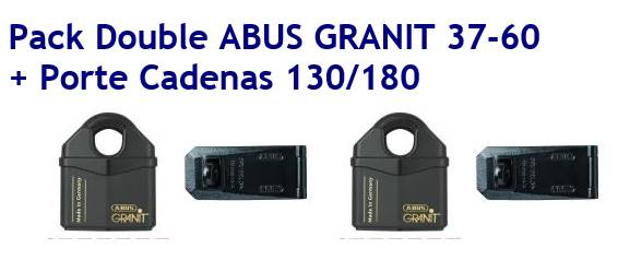 Pack double cadenas abus granit 37 60 avec porte cadenas abus granit 130 180