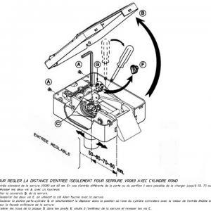Reglage de l entraxe du cylindre serrure electrique viro v9083