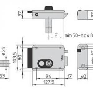 Serrure electrique viro v8972 v97 droite a bouton dimensions