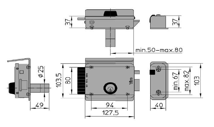 Serrure electrique viro v8992 v97 droite 12 volts dimensions