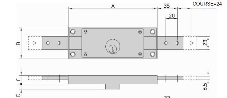 Dimensions Serrure pour rideaux metalliques et portes de garage, VIRO 8231.9